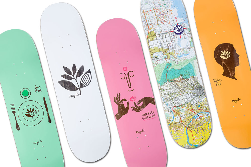 The new look of Magenta Skateboards!