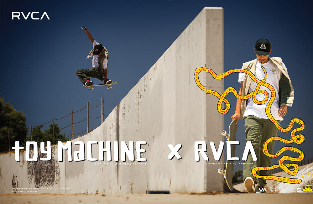 Win 1 van de 18 RVCA x Toy Machine decks!