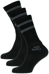 Nike SB Crew Skateboarding Socks US 3-15  (black anthracite) 3 Pack