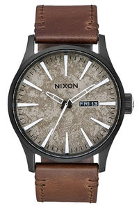 Nixon The Sentry Leather Watch (black concrete)
