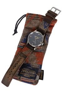 Nixon The Sentry Leather Pendleton Watch (washed americana)