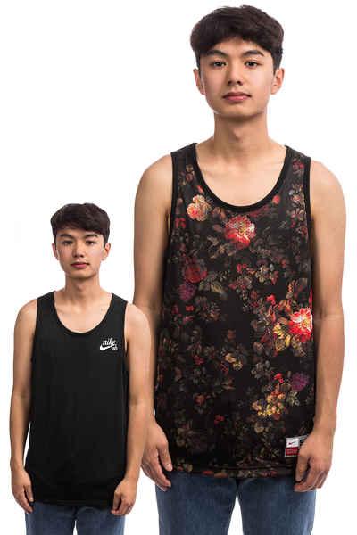 164d9d5a8eb2 Nike SB Dry Mesh Floral Reversible Tank-Top reversible (black white floral)  buy at skatedeluxe