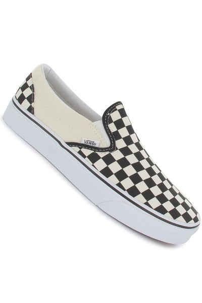 vans classic slip on shoes black and white checker white buy at skatedeluxe