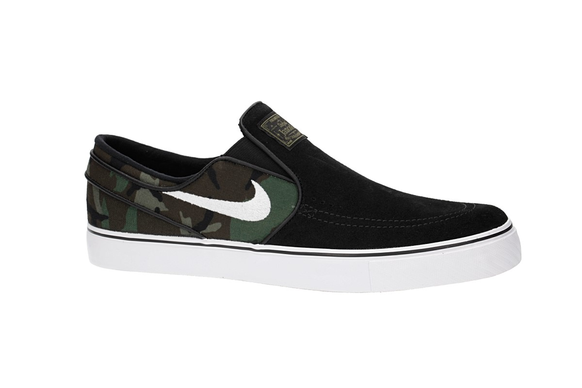 finest selection 50976 bb658 Nike SB Zoom Stefan Janoski Slip Shoes (black white multi)