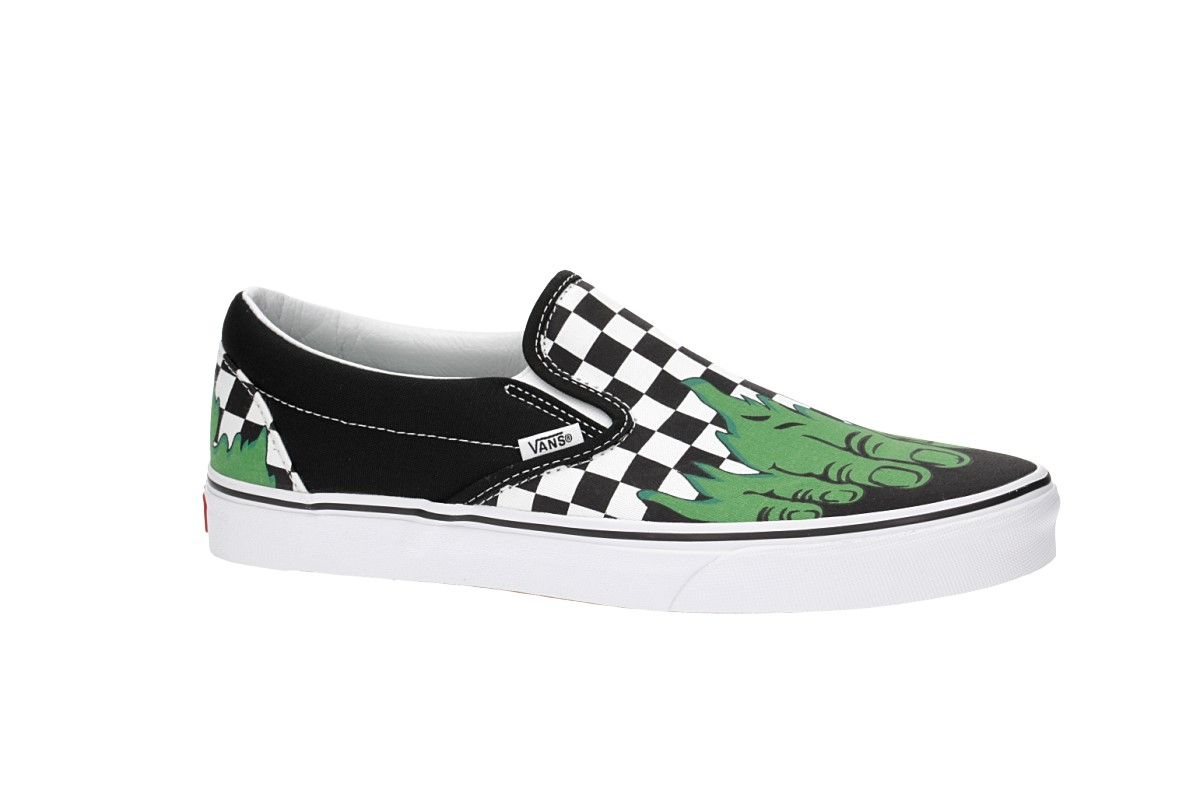Vans x Marvel Classic Slip-On Shoes (hulk checkerboard)