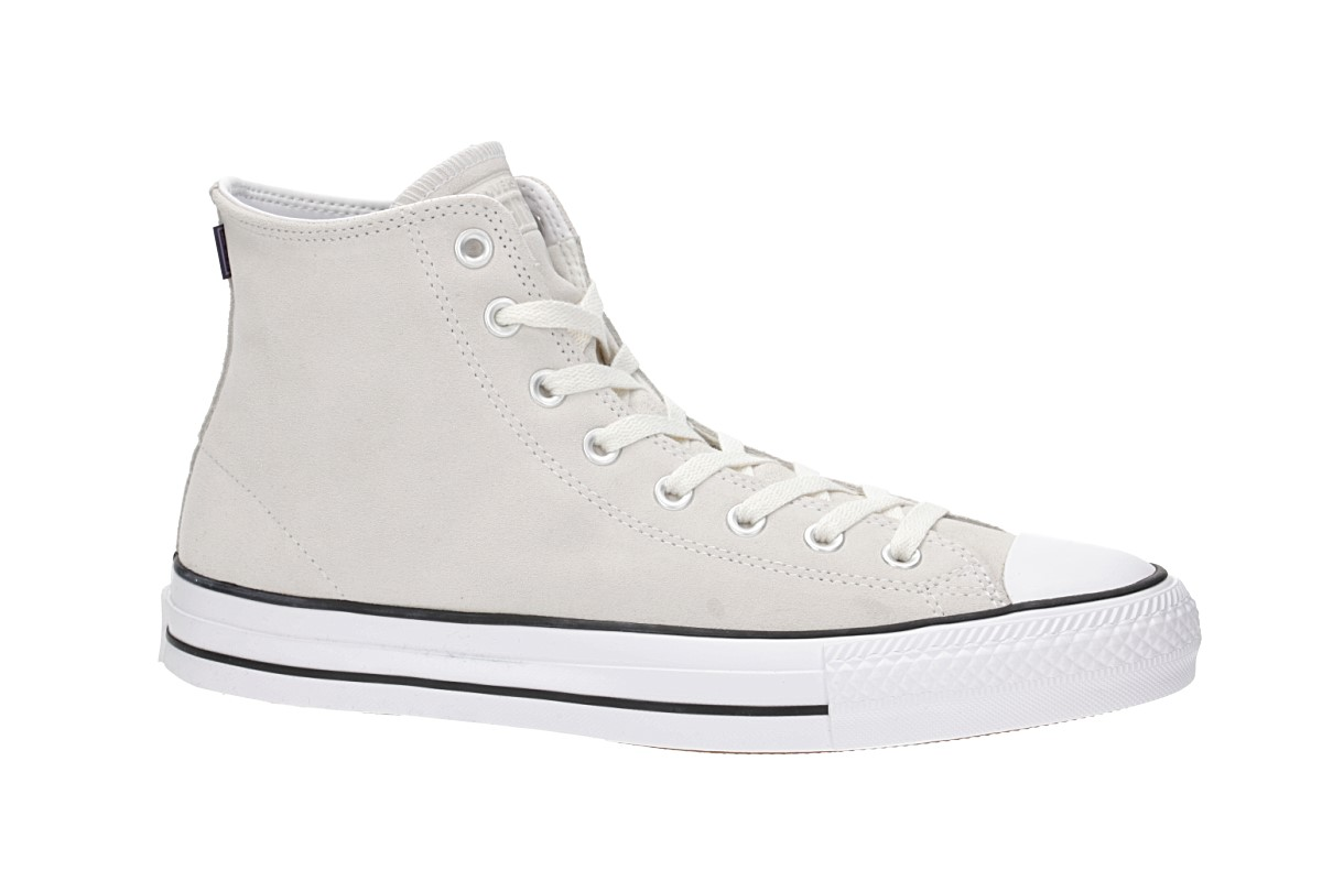 Converse Chuck Taylor All Star High Pro Rubber Backed Suede Shoes (vintage white white black)
