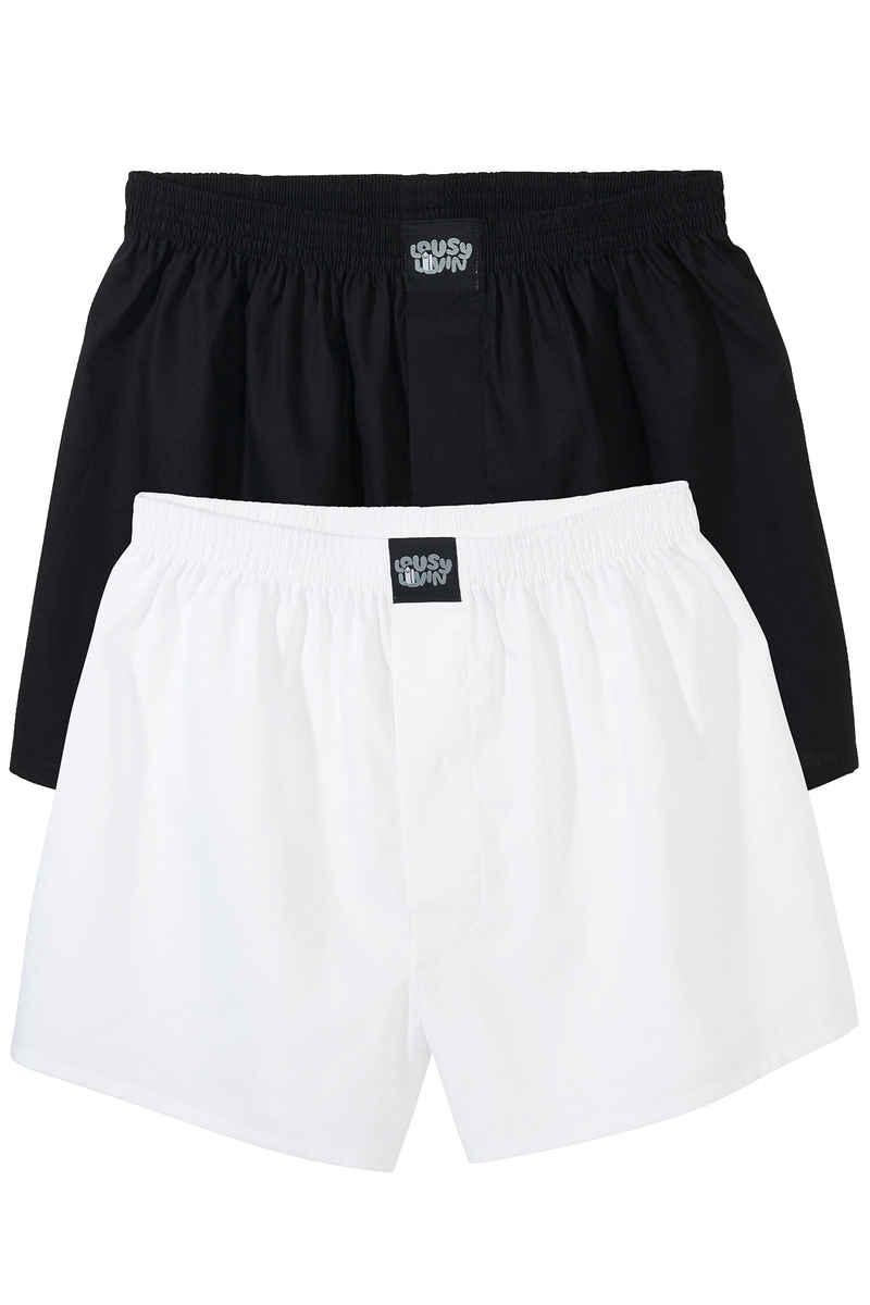 Lousy Livin Underwear Plain Boxers (black white) 2 Pack