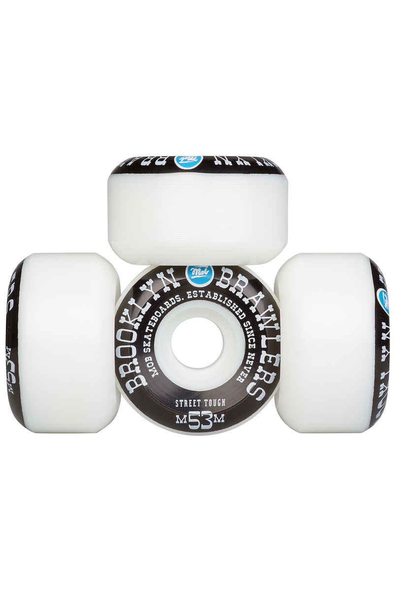 MOB Skateboards Brooklyn Brawlers Rollen (white black) 53mm 100A 4er Pack
