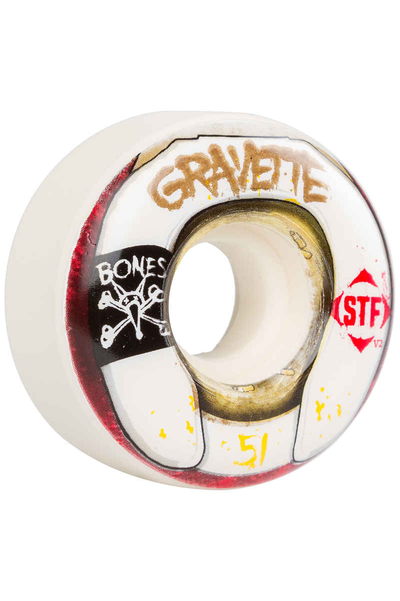 Bones STF Gravette Wasted Life Roue (white) 51mm 103A 4 Pack