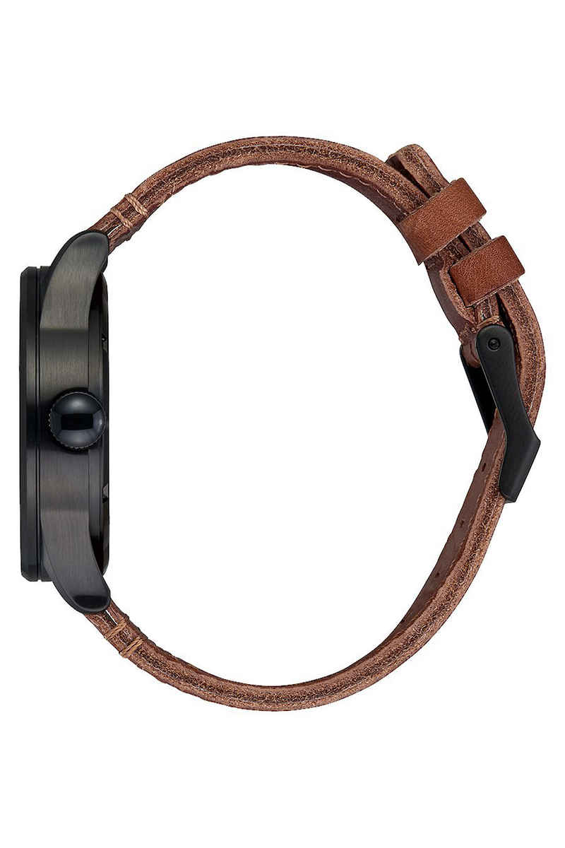 Nixon The Sentry Leather Horloge (black stamped brown)
