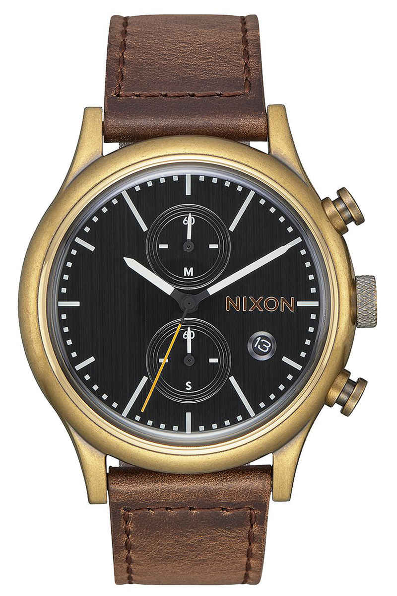 Nixon The Station Chrono Leather Montre (brass black taupe)