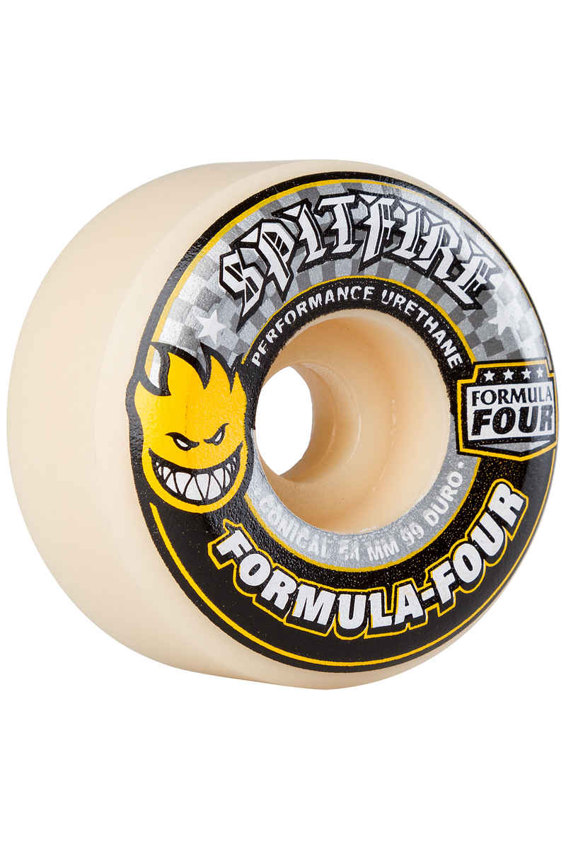 Spitfire Formula Four Conical Wheels (white yellow) 54mm 99A 4 Pack