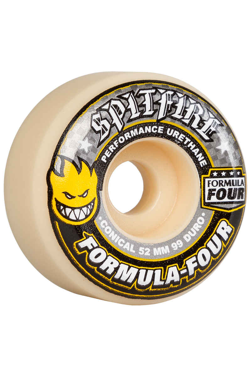 Spitfire Formula Four Conical Wheels (white yellow) 52mm 99A 4 Pack