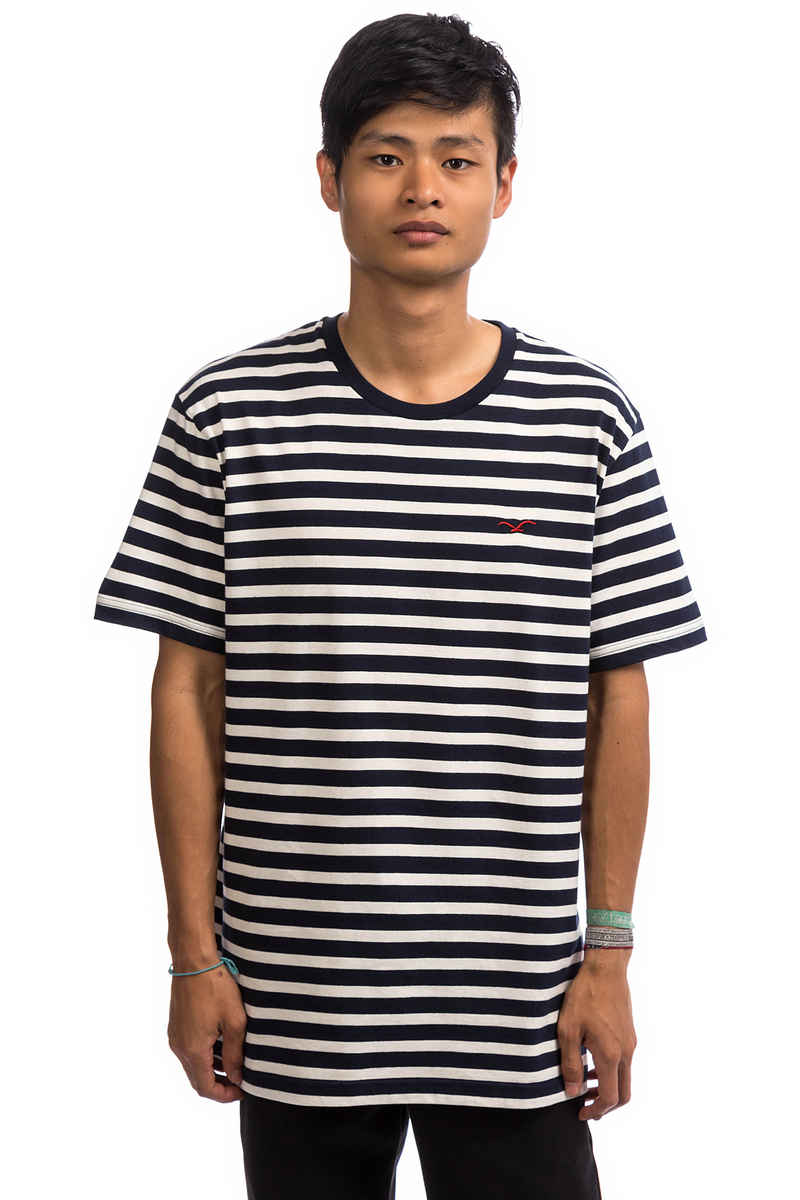 Cleptomanicx Classic Stripe 2 T-Shirt (dark navy)