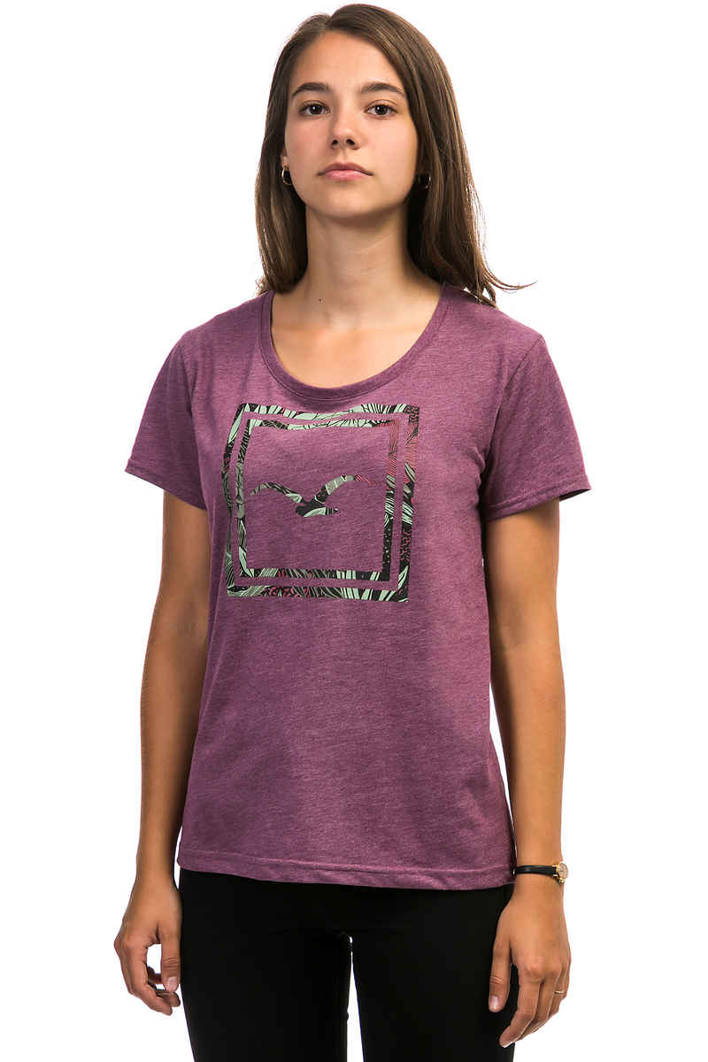 Cleptomanicx Floral Box T-Shirt women (heather dark berry)