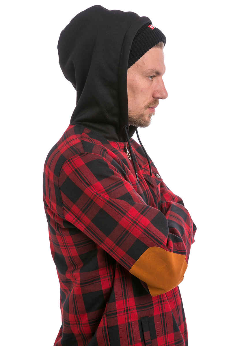 DC Backwoods Flannel Snow Zip-Hoodie (mod buffalo plaid chili pepper)