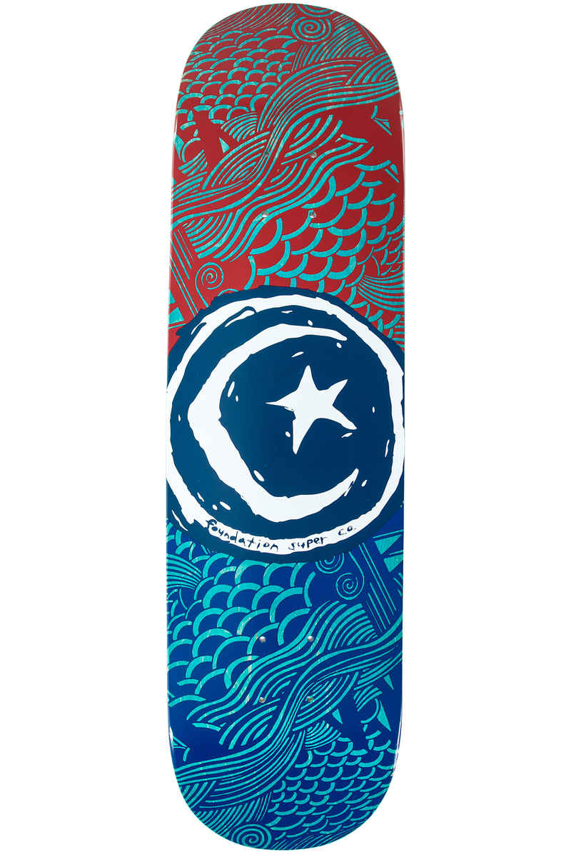 "Foundation Star & Moon Waves 8.125"" Planche Skate (red blue)"