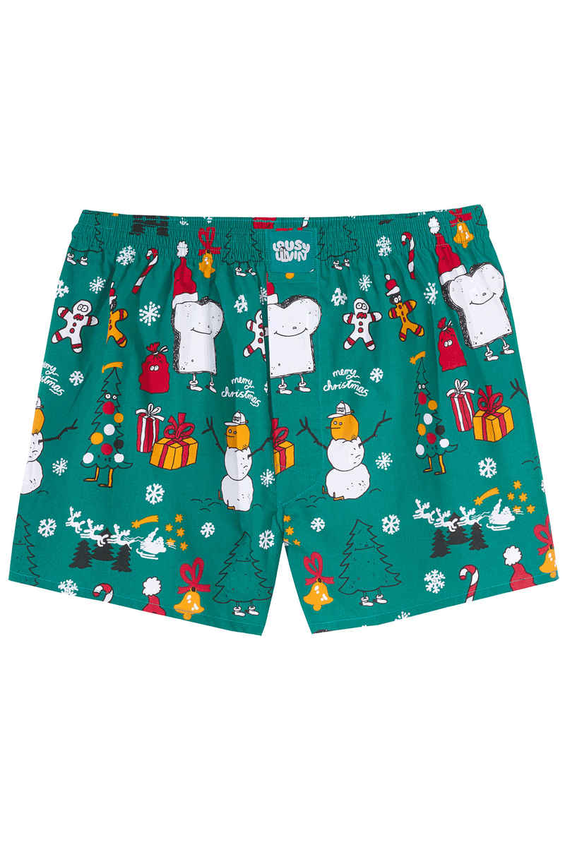 Lousy Livin Underwear Merry Merry Boxers (forrest green)