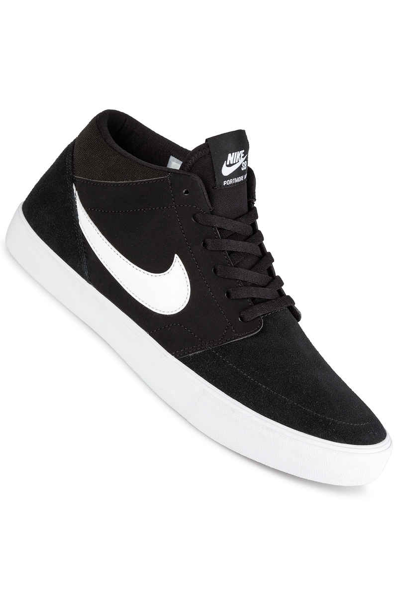 nike sb solarsoft portmore ii mid shoes black white buy at skatedeluxe. Black Bedroom Furniture Sets. Home Design Ideas