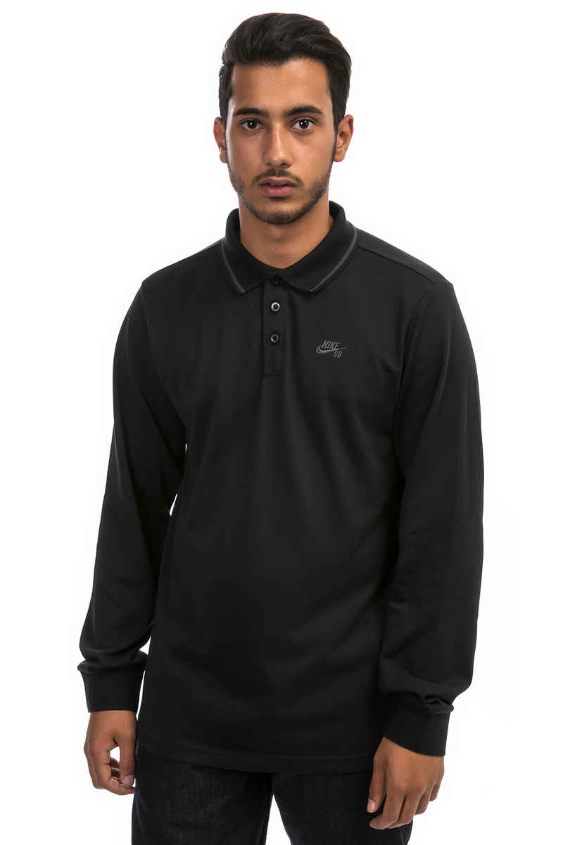 775a6853777 Nike SB Dry Longsleeve Polo-Shirt (black anthracite) buy at skatedeluxe