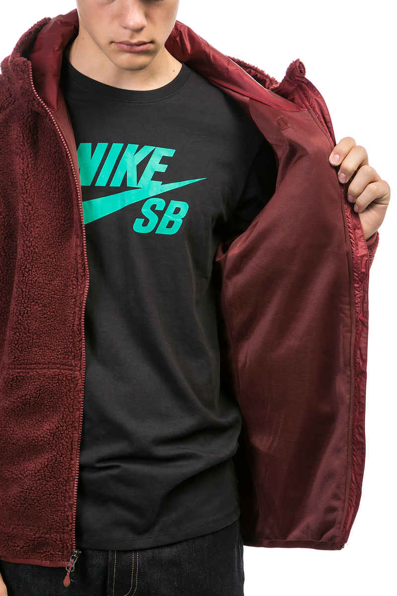 Nike SB Everett Sherpa Zip-Sweatshirt avec capuchon (dark team red)