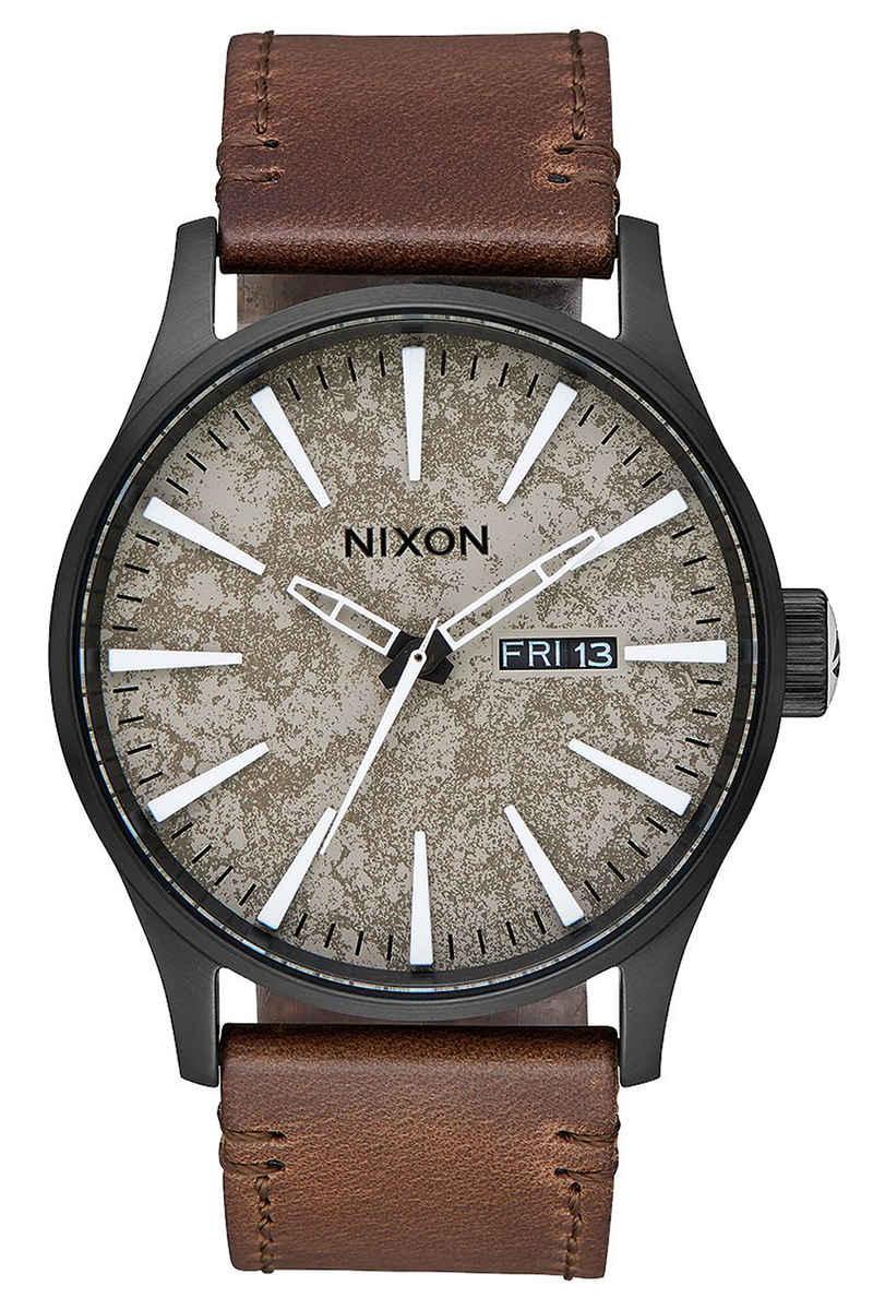 Nixon The Sentry Leather Watch (black concrete)