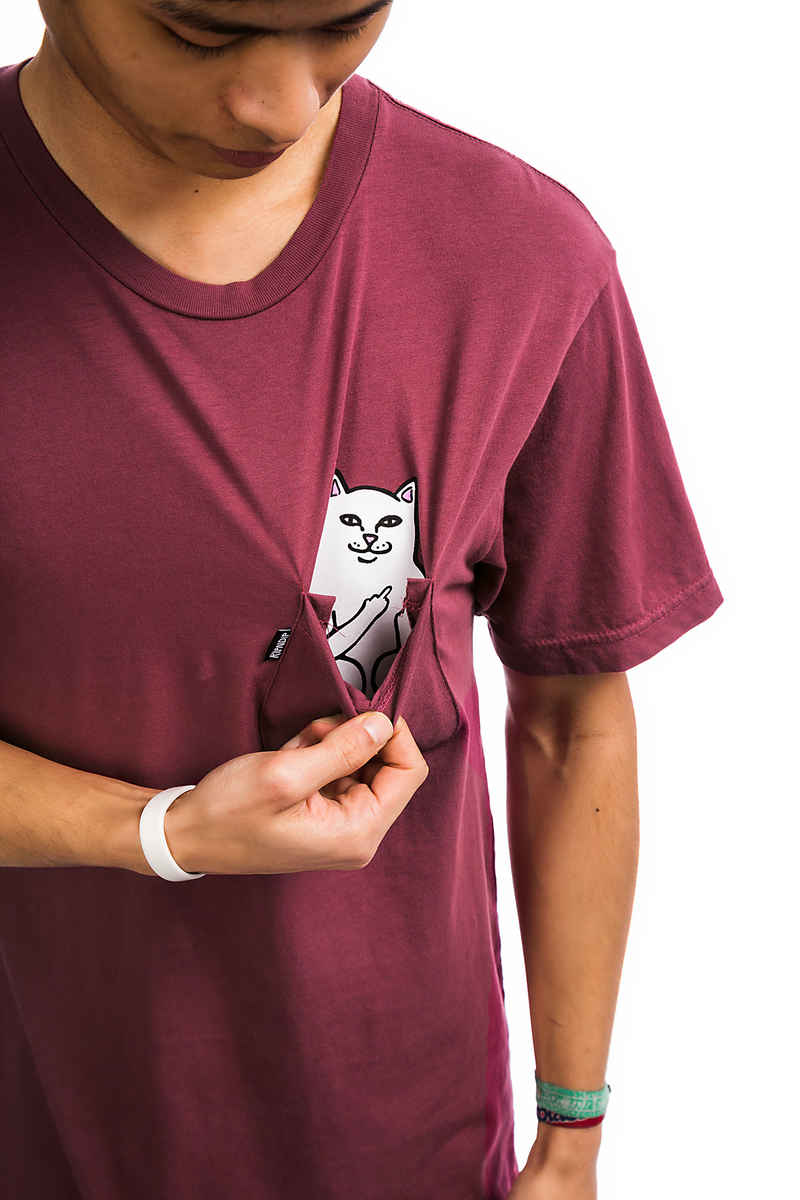 RIPNDIP Lord Nermal Pocket T-Shirt (burgundy mineral wash)