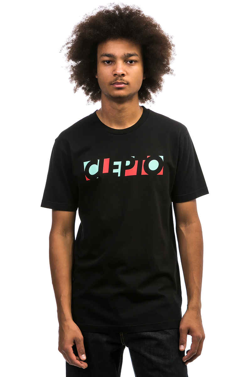 Cleptomanicx Blocks T-Shirt (black fiery red)