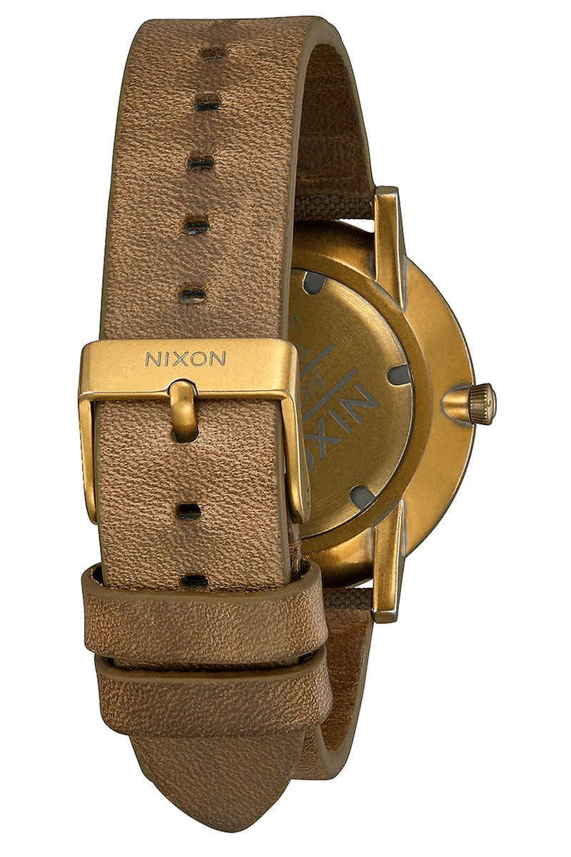 Nixon The Porter Leather Watch (palm green brass brown)