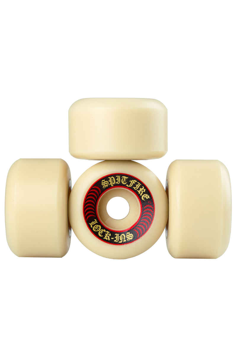 Spitfire Formula Four Lock Ins Wheels (white red) 53mm 101A 4 Pack