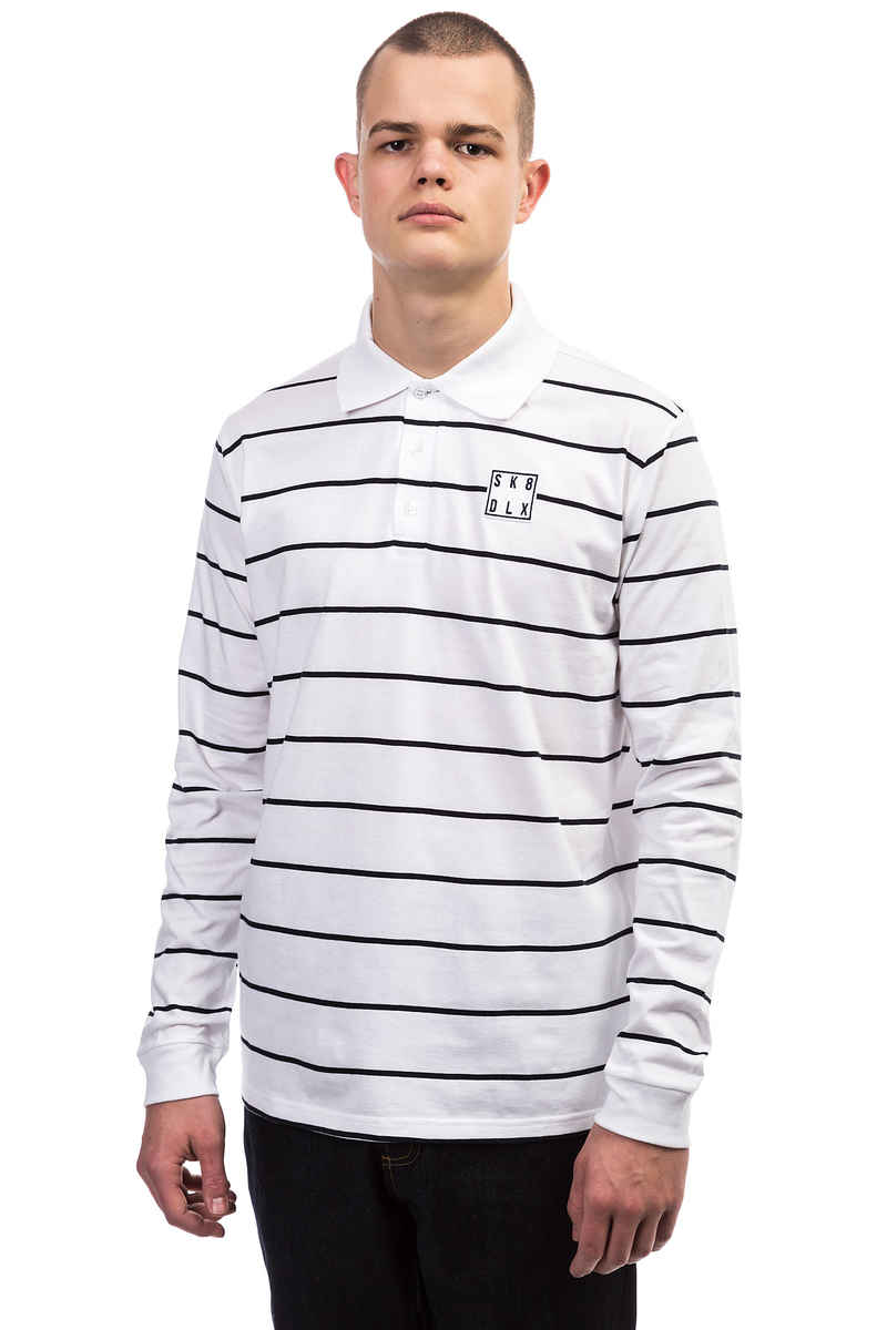 SK8DLX Stripes Polo Longsleeve (white navy)