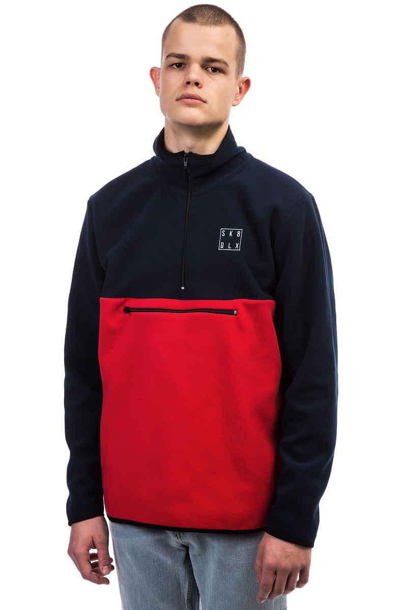 SK8DLX Square Fleece Half Zip Sweatshirt (navy red)