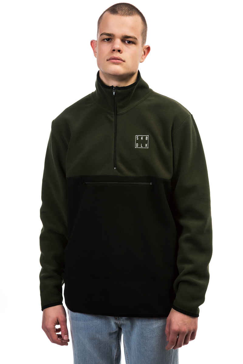SK8DLX Square Fleece Half Zip Sweatshirt (green black)