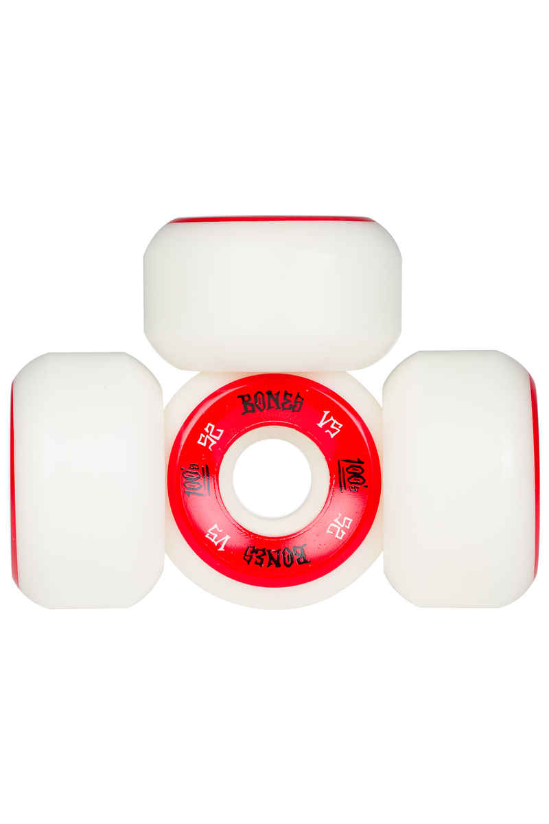 Bones 100's-OG #1 V5 Roue (white red) 52mm 100A 4 Pack