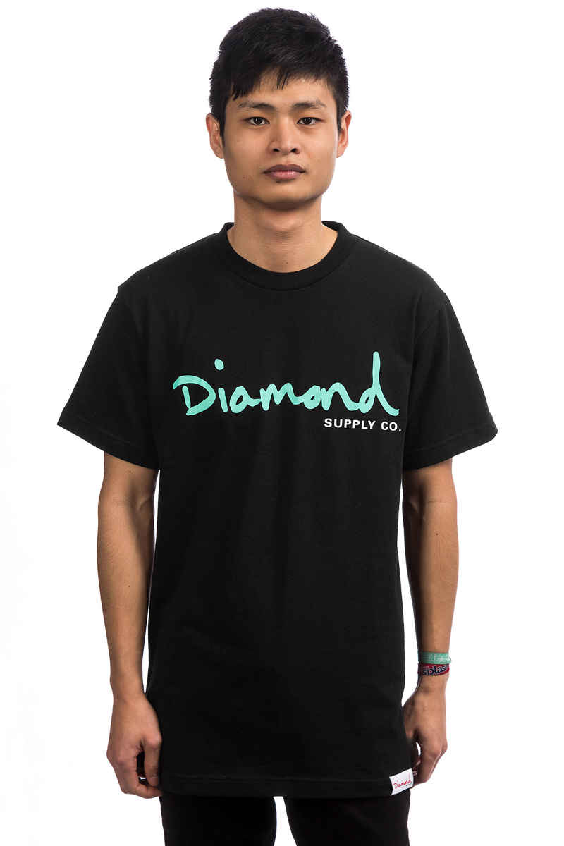 Diamond OG Script T-Shirt (black turquoise)