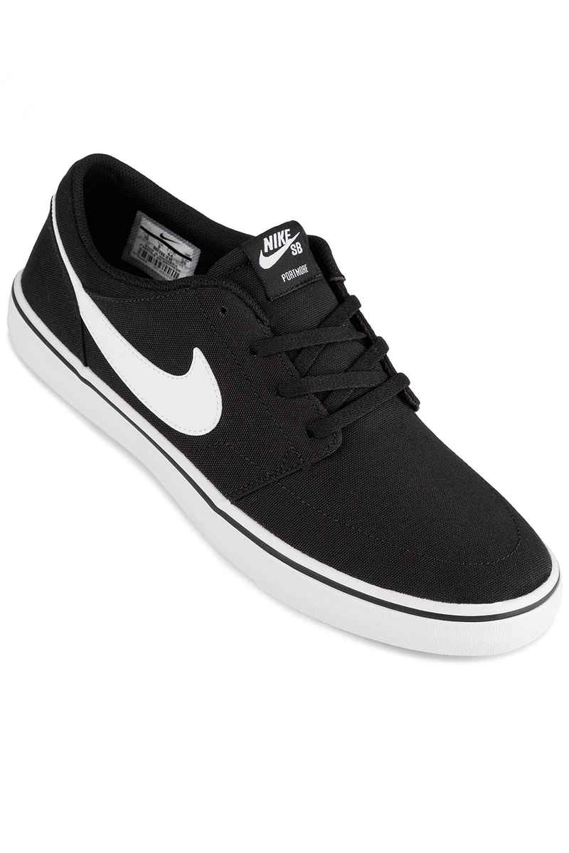 Nike SB Solarsoft Portmore II Canvas Shoes (black white)