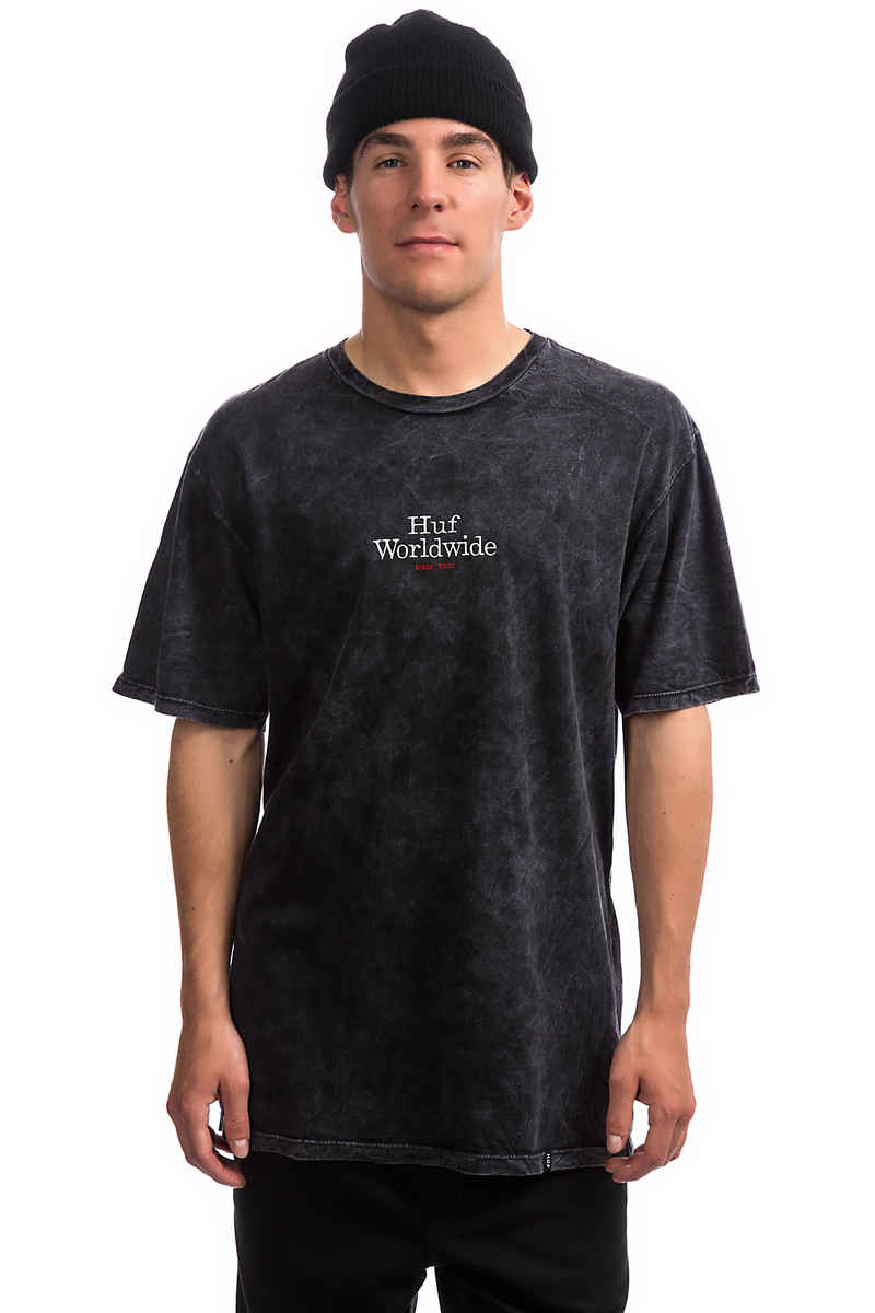 HUF Worldwide Acid Wash T-Shirt (black)