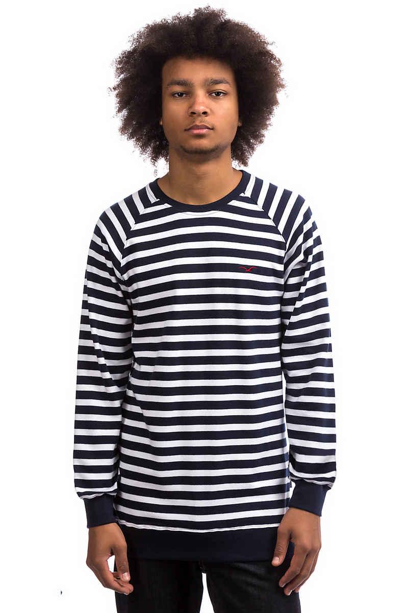 Cleptomanicx Classic Stripe 2 Sweatshirt (dark navy white)