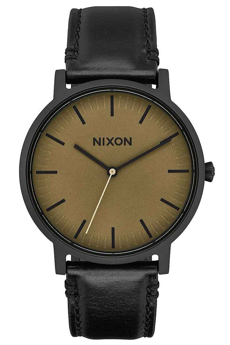 Nixon The Porter Leather Montre (black matte sage black)