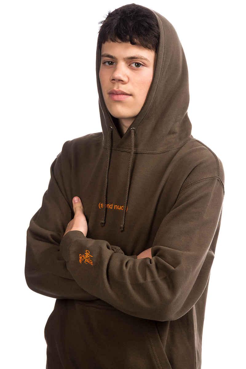CHILL OR DIE Send Nudes Hoodie (army orange)