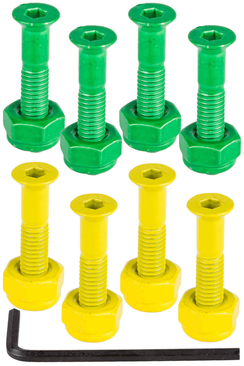 "Shake Junt Bag-O-Bolts 1"" Bolt Pack (green yellow) Flathead (countersunk) allen"