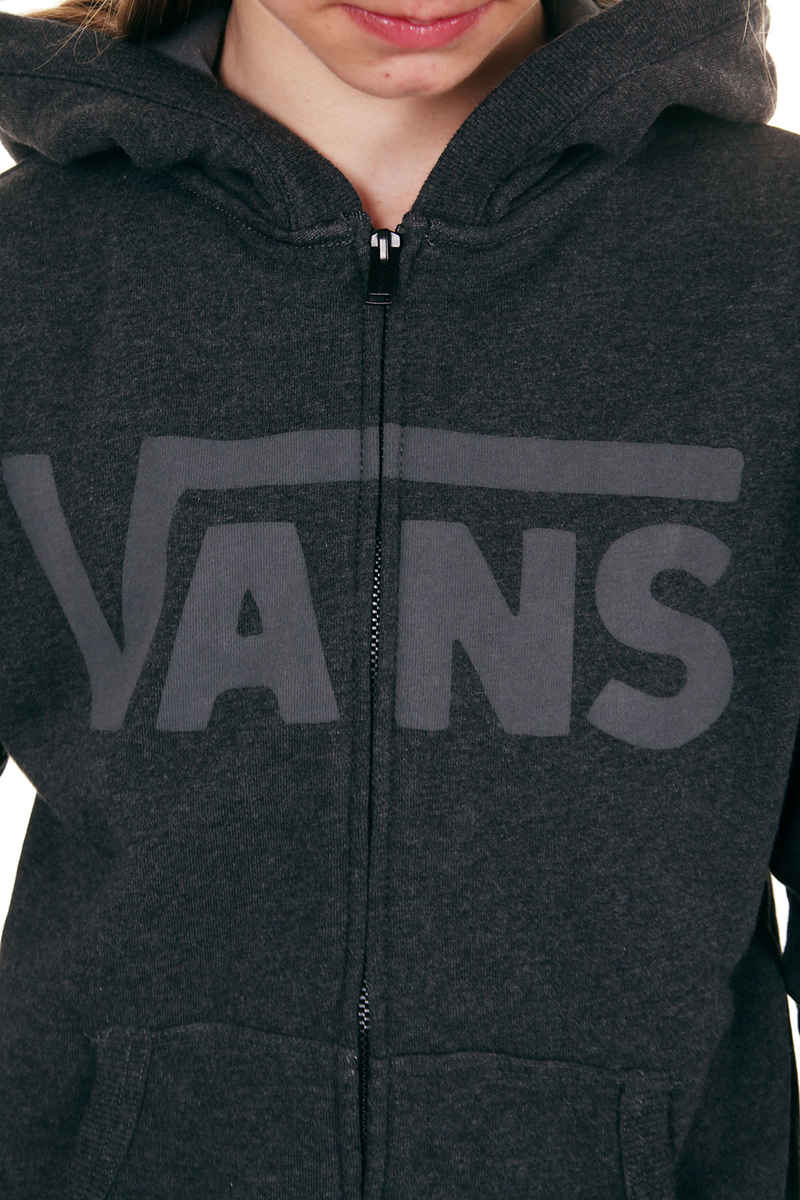 1822639187242 Vans Classic Zip-Hoodie kids (black heather gravel) buy at skatedeluxe