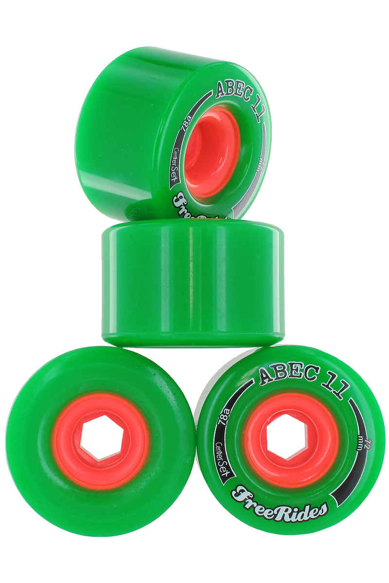 ABEC 11 Centerset Freeride 72mm 78A Roue (green) 4 Pack