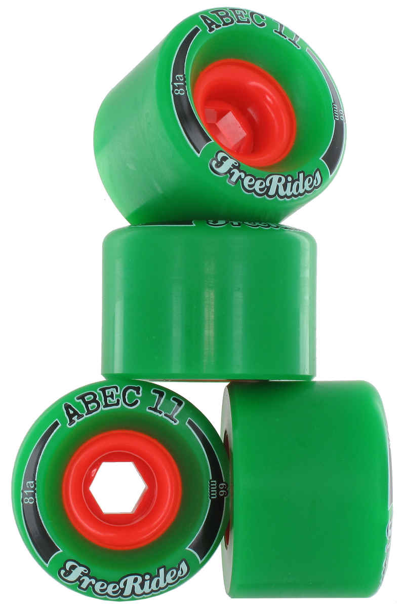 ABEC 11 Classic Freeride 66mm 81A Roue (green) 4 Pack