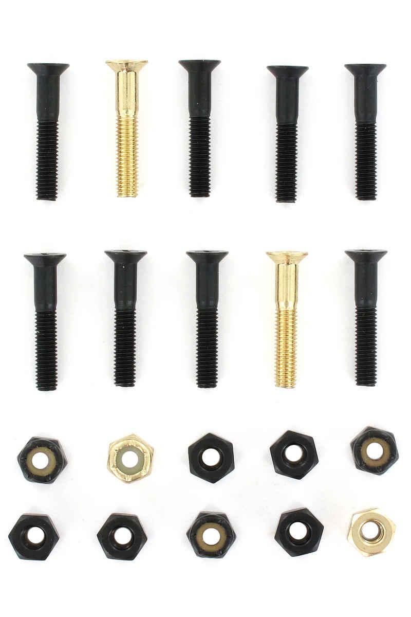 "SK8DLX Nuts & Bolts Gold 1 1/8"" Montageset (black gold) Senkkopf Kreuzschlitz"