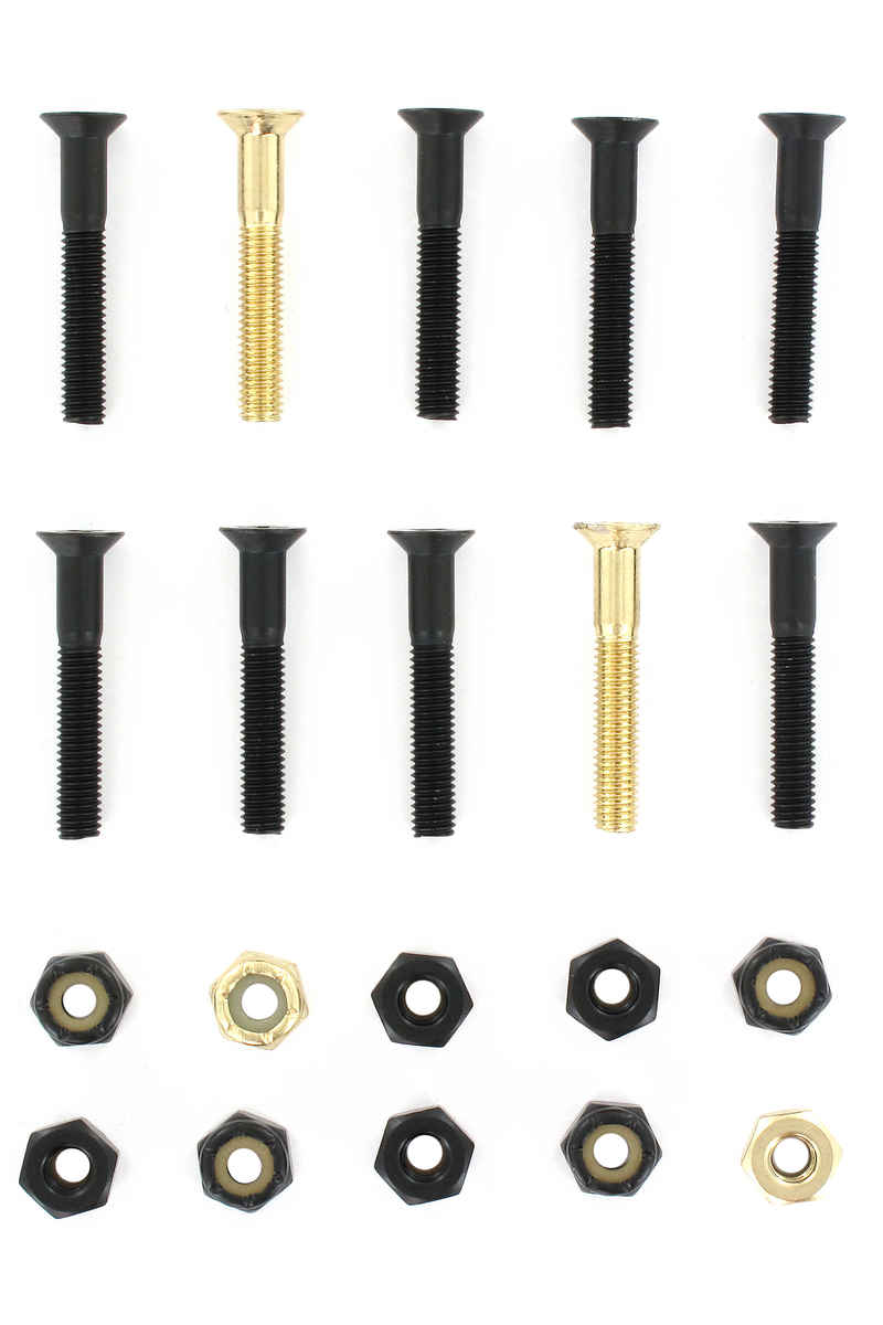 "SK8DLX Nuts & Bolts Gold 1 1/4"" Bouten pakket (black gold) Flathead (countersunk) cross slot"