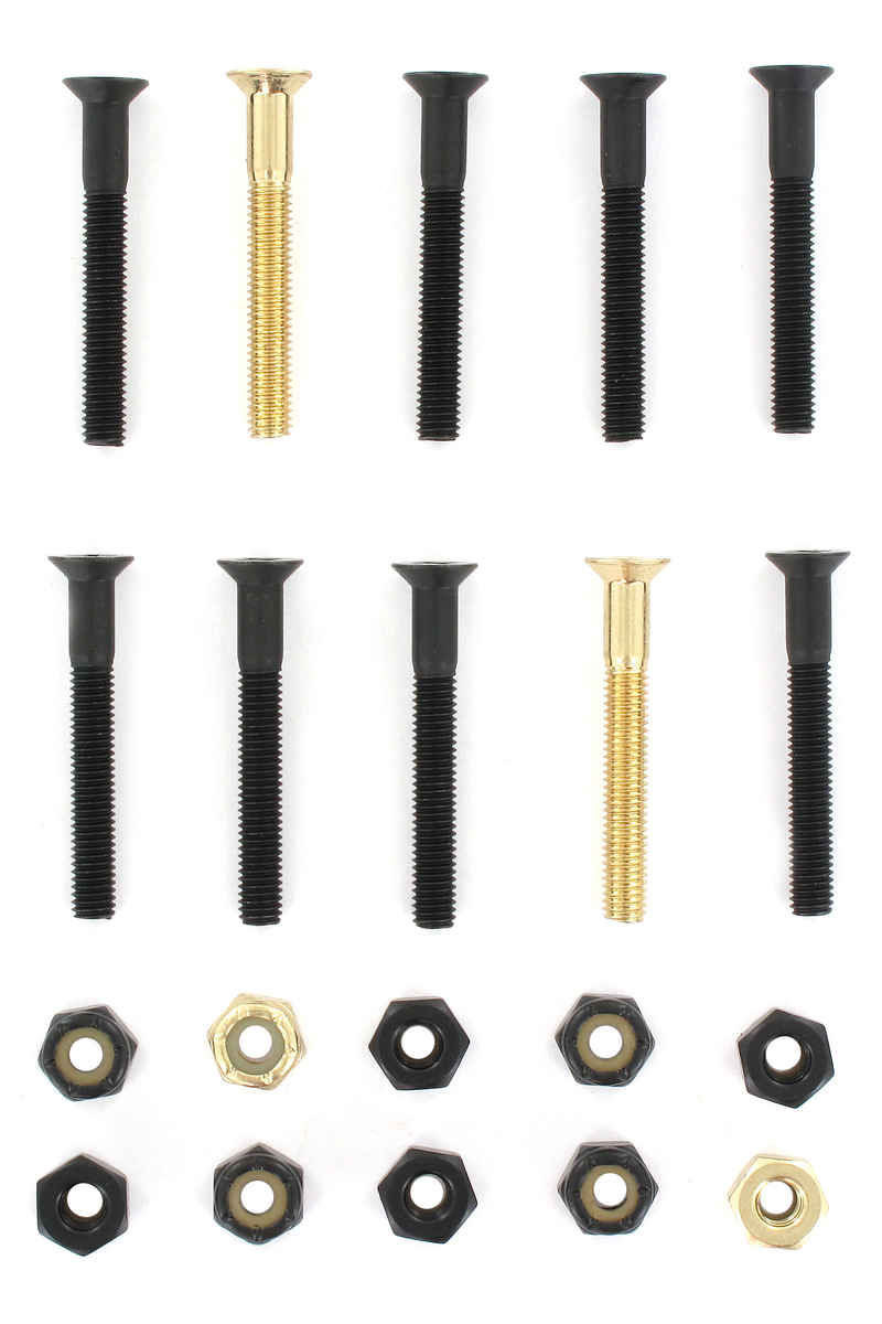 "SK8DLX Nuts & Bolts Gold 1 1/2"" Set de vis (black gold) Flathead (tête fraisée) cross slot"
