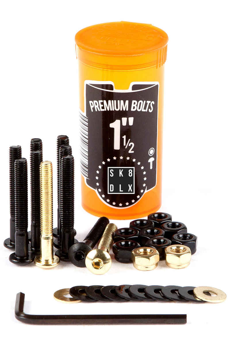 "SK8DLX Premium Bolts 1 1/2"" Bolt Pack (black gold) Raised Head (fillister) allen"