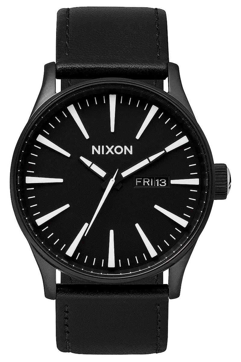 Nixon The Sentry Leather Horloge (black white)
