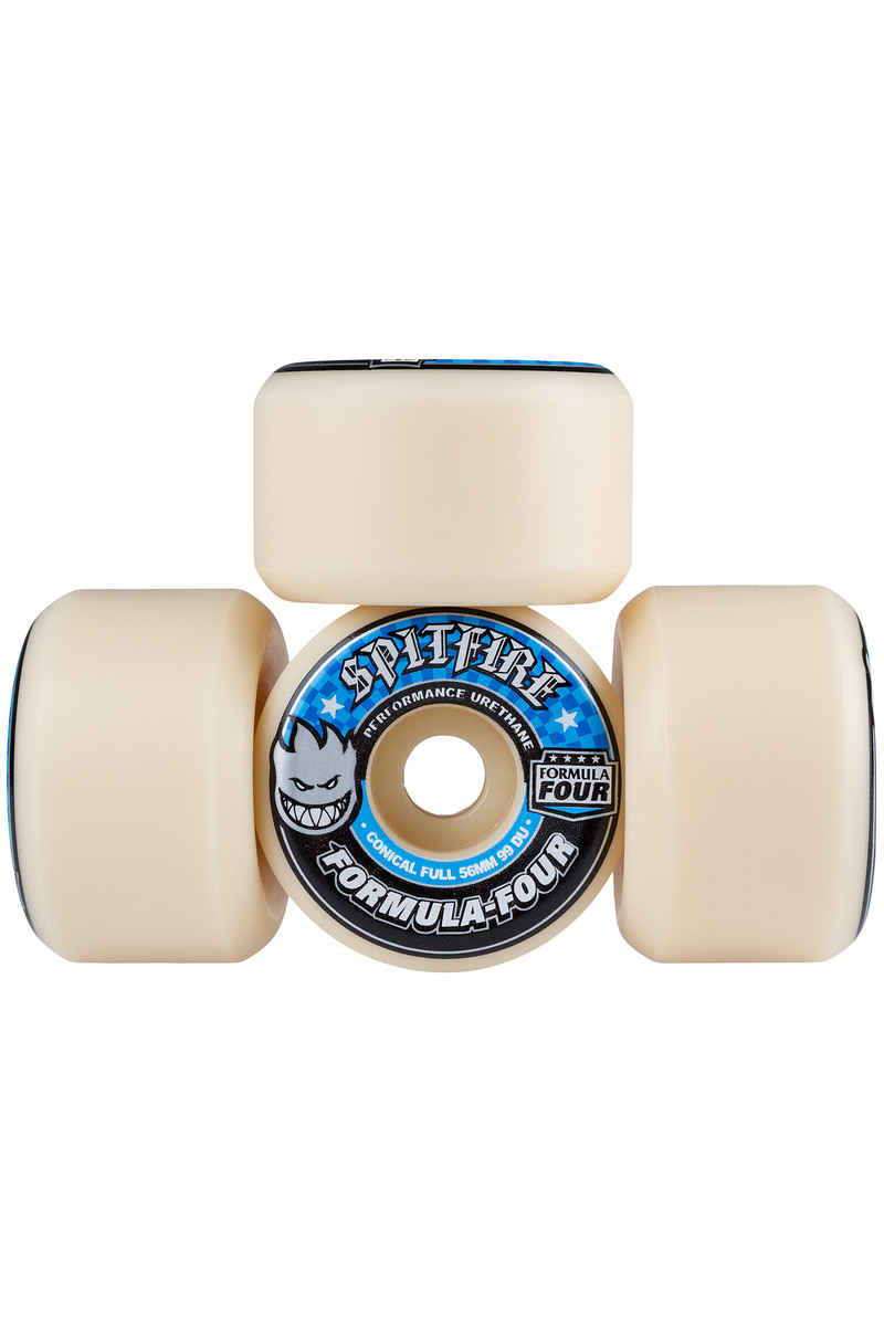 Spitfire Formula Four Conical Full Wheels (white blue) 56mm 99A 4 Pack
